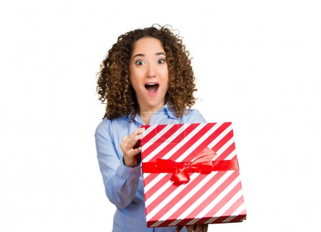 Happy excited woman opening red gift box