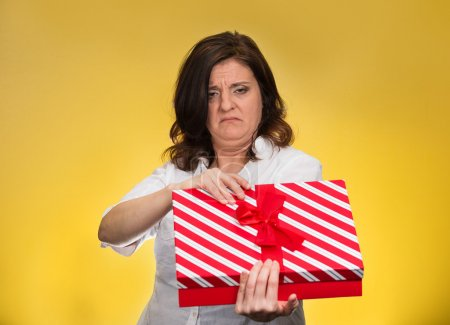 Woman unhappy with gift