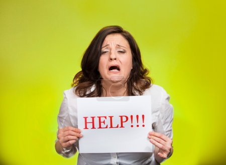 Stressed woman screaming for help