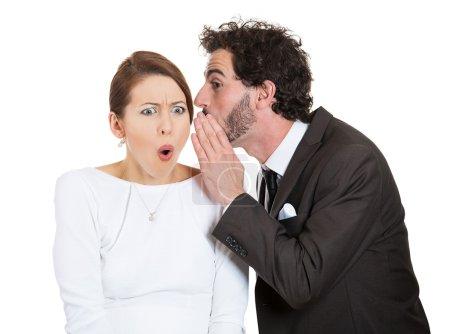 Couple man woman gossip