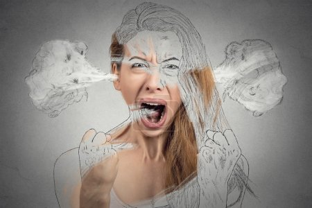 Photo for Closeup portrait angry young woman blowing steam coming out of ears having nervous breakdown hysterical screaming isolated grey background. Negative human emotion facial expression feeling attitude - Royalty Free Image