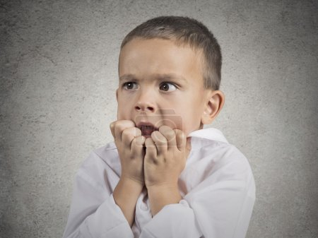 Photo for Closeup portrait nervous anxious stressed child boy biting fingernails looking anxiously craving something, afraid having panic attack isolated grey wall background. Negative emotion facial expression - Royalty Free Image