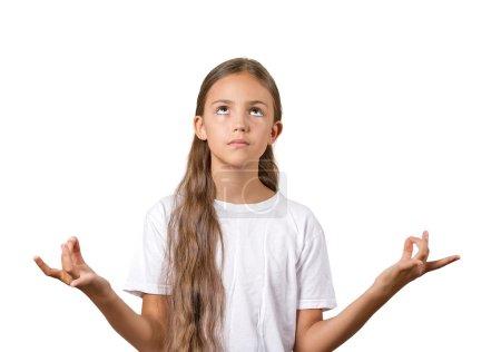 Photo pour Closeup portrait fille adolescent calme relaxant, méditant, en mode zen, isolé sur fond blanc. l'émotion humaine positive expression faciale attitude perception du symbole de situation de vie - image libre de droit