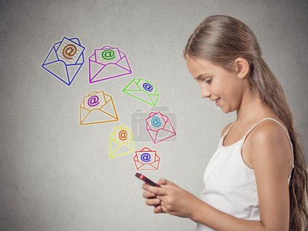 girl holding smartphone texting, sending message