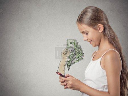 Girl working online on smartphone earning money