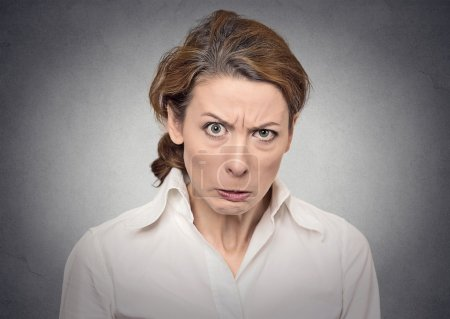 Photo for Portrait angry woman on grey background - Royalty Free Image