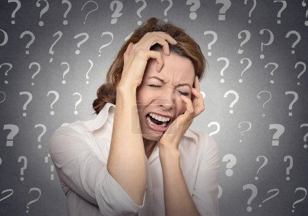 stressed crying woman has many questions