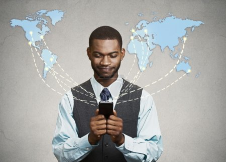 Photo pour Modern communication technology mobile phone high tech, wide web connection concept. Business man holding smartphone connected browsing internet worldwide world map background. 4g data plan provider - image libre de droit