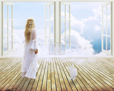beautiful girl in white dress standing looking into open window dreamland day light
