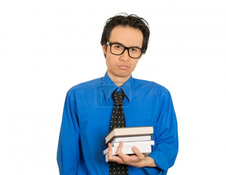 worried stressed unhappy student with big black glasses standing holding books