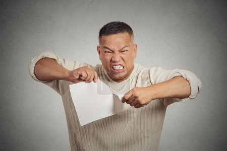 angry man tearing document to pieces isolated on grey background