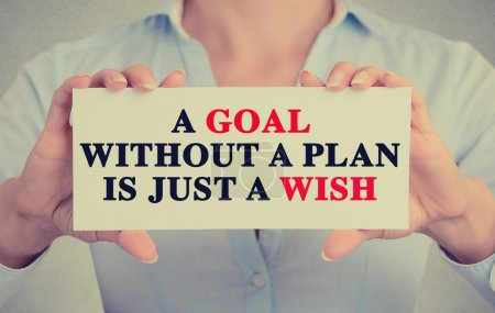 woman hands holding sign with a goal without plan is just wish message