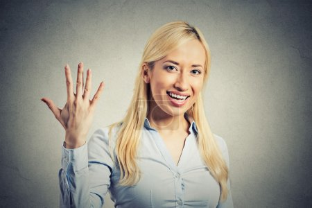 woman, making five times sign gesture with hand fingers