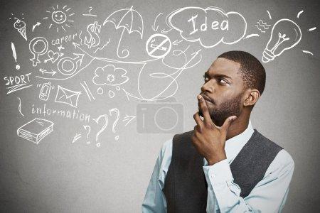 man thinking dreaming has many ideas looking up