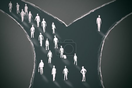 On the crossroads people choosing their pathway wi...
