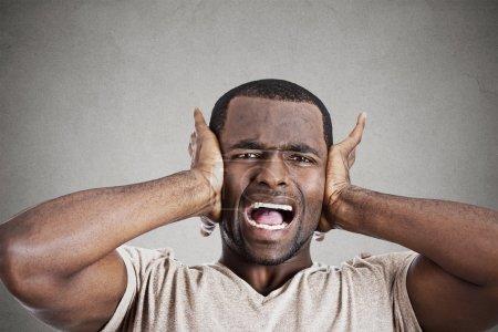 Photo pour Le portrait de plan rapproché bouleversé a souligné le jeune homme serrant sa tête, devassant, criant, perdant l'esprit, fond gris isolé de mur. Réaction négative de sentiment d'émotion - image libre de droit