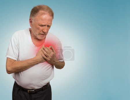 Senior man suffering from bad pain in his chest...