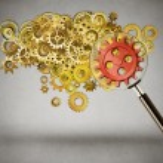 Security idea generation focus concept. Magnifying...