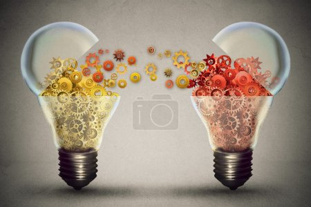 Idea exchange concept. Open lightbulb icon with gear mechanisms