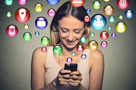 happy young woman using texting on smartphone