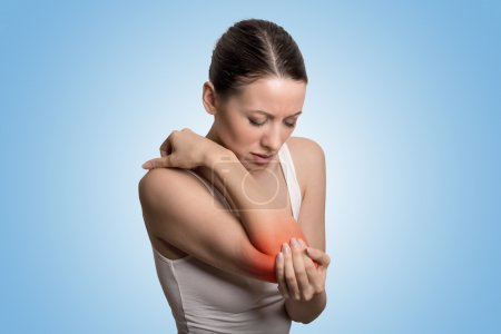 Arm pain and injury of elbow concept