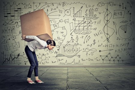 Photo pour Young woman carrying heavy box walking along gray wall covered with writing of math science life ideas formulas - image libre de droit