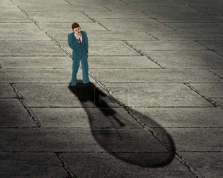 Brainstorming businessman concept. Man with his shadow in a shape of lightbulb