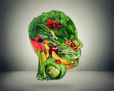 Photo for Healthy lifestyle choice concept. Fresh green vegetables and fruit shaped as human head face as symbol of good nutrition. - Royalty Free Image