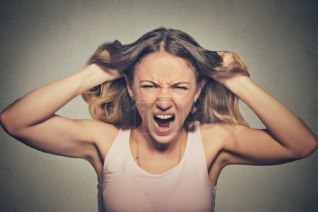 Photo for Closeup portrait stressed, frustrated angry woman pulling hair out yelling screaming temper tantrum isolated on grey wall background. Negative human emotion facial expression reaction attitude - Royalty Free Image