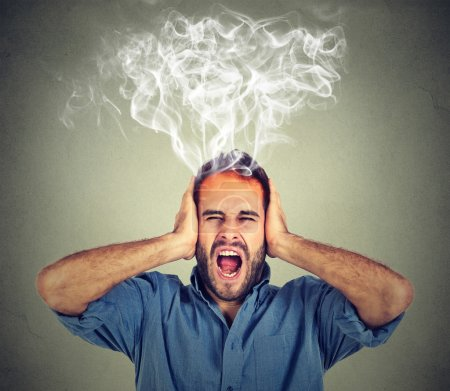 stressed man screaming frustrated overwhelmed steam coming out up of head