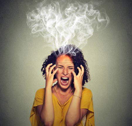 Photo for Very angry pissed off woman screaming steam smoke coming out up of head. Negative human emotions, feelings face expression - Royalty Free Image