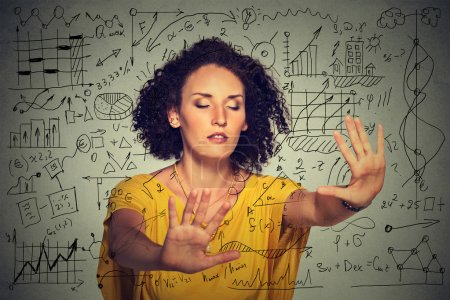 woman searching walking through complicated social media financial data plan