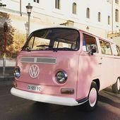 Old pink Volkswagen Van