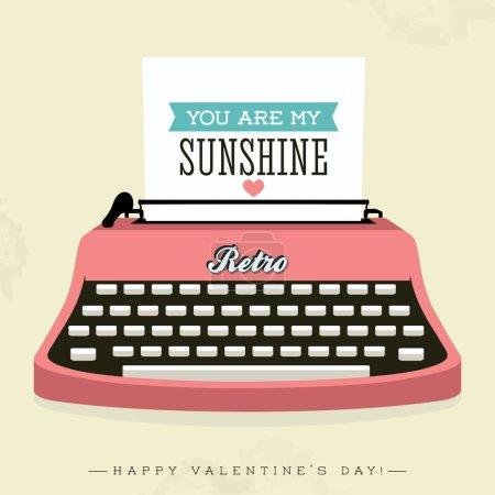 Illustration pour Heureux Valentin fond - machine à écrire rétro - image libre de droit