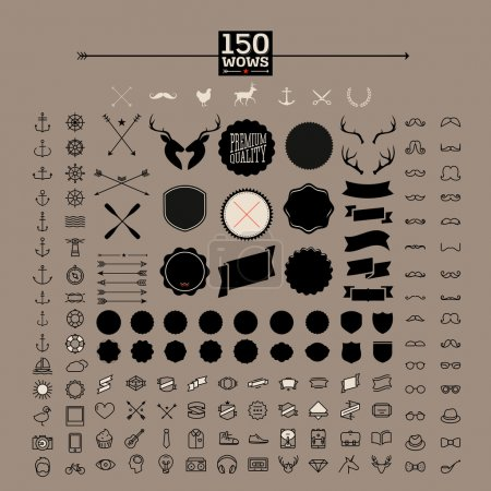 Illustration for 150 hipster icons, label, badge, sticker! wow! all you need! - huge set of vintage hipster labels, heart, arrow, bicycle, phone, sunglasses, mustache, bow, anchors, and camera. Vector illustration. - Royalty Free Image