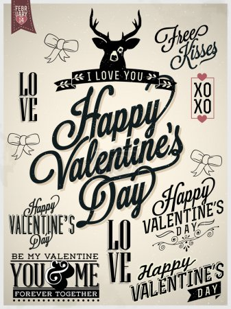 Collection of Valentine's Day Hand Lettering Labels