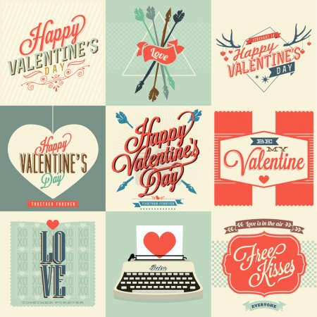 Illustration pour Joyeuses cartes de Saint-Valentin avec ornements, cœurs, ruban, flèche et machine à écrire - image libre de droit