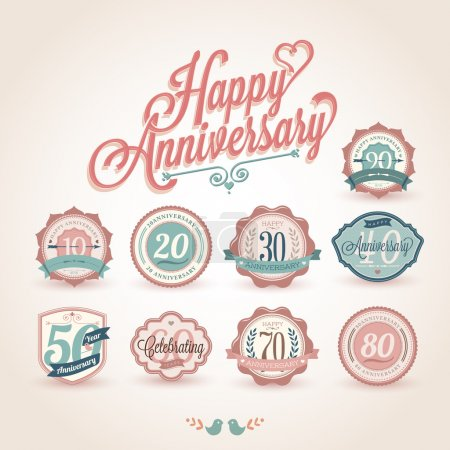 Illustration for Happy anniversary premium quality labels - Royalty Free Image