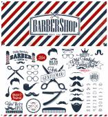 Set of vintage barber shop logo graphics and icons