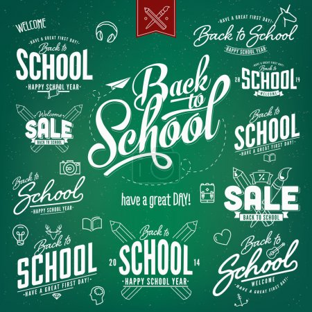 Illustration for Back to School Calligraphic Designs Label Set - Royalty Free Image