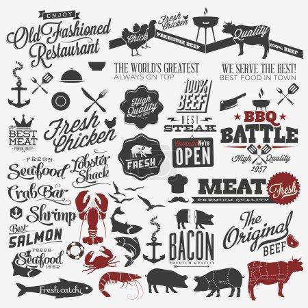 Ilustración de Conjunto de títulos caligráficos y símbolos para el diseño del restaurante. mano rotulación diseño tipográfico menú - Imagen libre de derechos