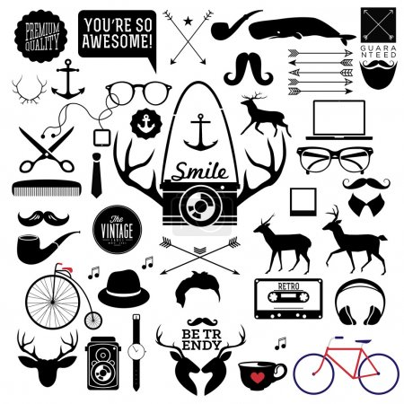 Hipster icon, label, badge, sticker! wow! all you need!