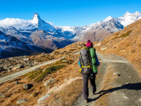Matterhorn and woman traveler