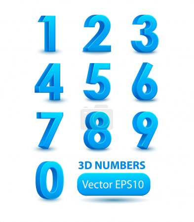 Illustration for Blue 3d numbers. Vector set. - Royalty Free Image