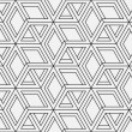 Seamless geometric pattern in op art design. Vecto...