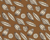 Engraved pattern of leaves and fruits of cocoa beans