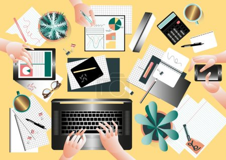 Illustration pour Vue de dessus de bureau de l'équipe créative avec des personnes travaillant ensemble dans un style moderne - image libre de droit
