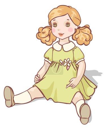cartoon doll in a green dress