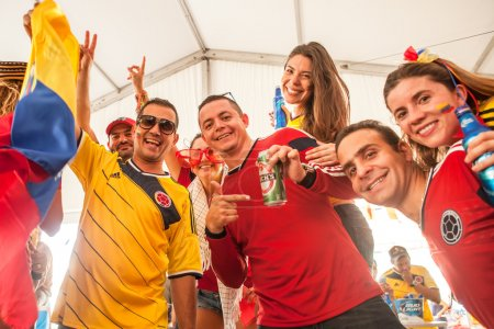MIAMI, USA - July 04, 2014: Colombian fans  meet to watch the ma