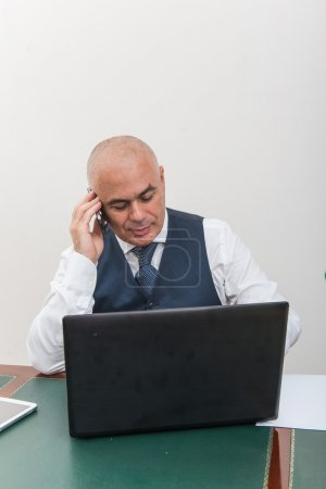 A business man on the phone and pc, at desk, in conference call